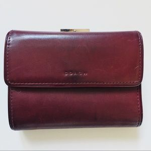 Coach red wallet trifold billfold